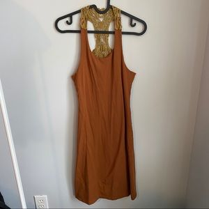Earthy Embroidered Sheer Back Day Dress